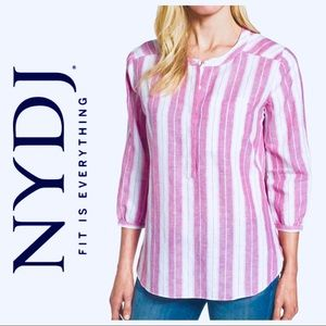 NWT NYDJ Pleat Back Striped Linen Blend BLOUSE